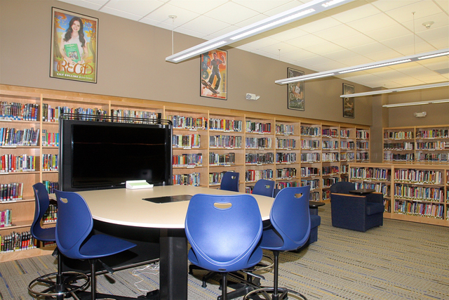 The middle school library was renovated earlier this year.