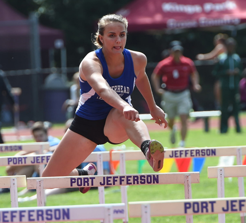 Riverhead's Rachel Clement competes in the hurdles of the pentathlon. (Credit: Robert O'Rourk)