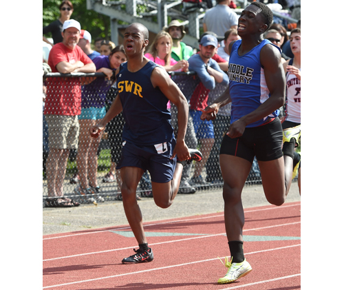Shoreham-Wading River's Jordan Wright races in the 200-meter dash. (Credit: Robert O'Rourk)