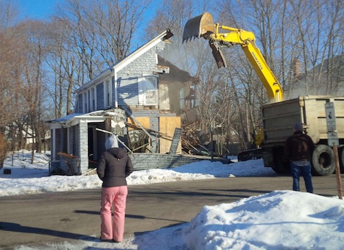 A Third Street home in Riverhead was torn down last Wednesday. (Credit: Courtesy photo)