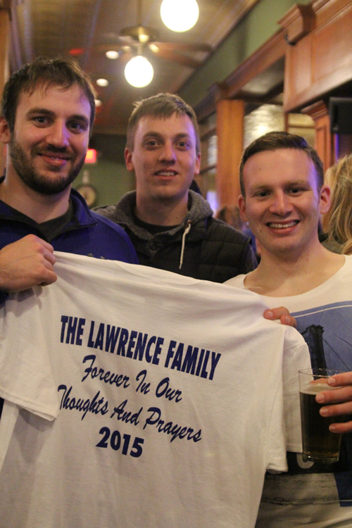 From left, Riverhead High School graduates Will Razzano, Kyle Zilonicki and John Razzano at Digger's Ales N' Eats on Thursday for a fundraiser to establish a scholarship in Danielle Lawrence's memory. (Credit: Jen Nuzzo photos)