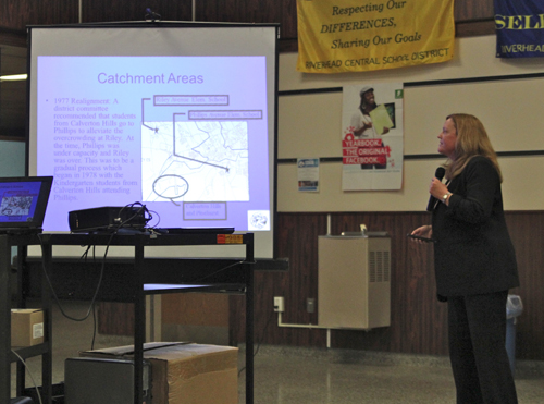 Riverhead School District Superintendent Nancy Carney giving a presentation about the district's elementary school catchment areas Tuesday. (Credit: Jennifer Gustavson)