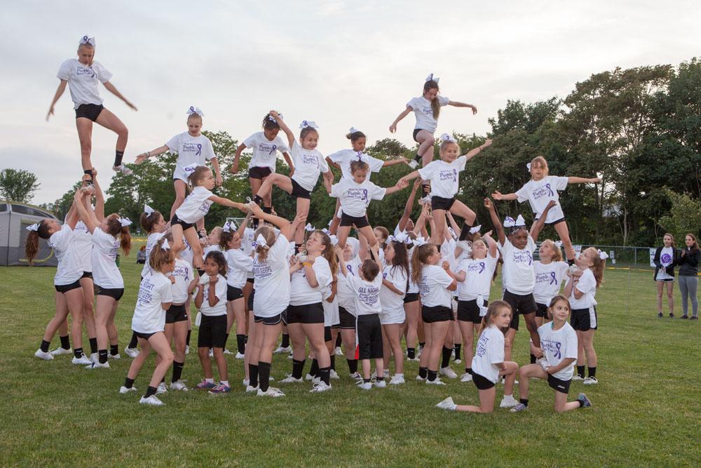 North Fork Cheer entertains the crowd. (Credit: Katharine Schroeder)