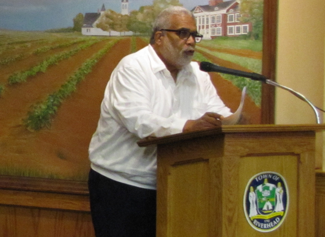 Rev. Charles Coverdale thanks the Town Board Tuesday evening. (Credit: Tim Gannon)