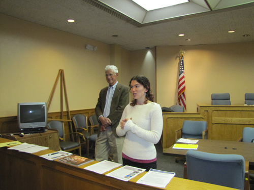 Town landmarks preservation chairman Richard Wines, left, and Jennifer Betsworth of the state Historic Preservation office, speak at last Wednesday's meeting. Tim Gannon photo
