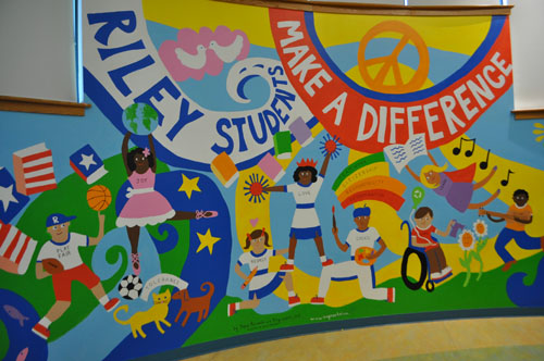 A mural with an anti bullying message at riley avenue for Elementary school mural ideas
