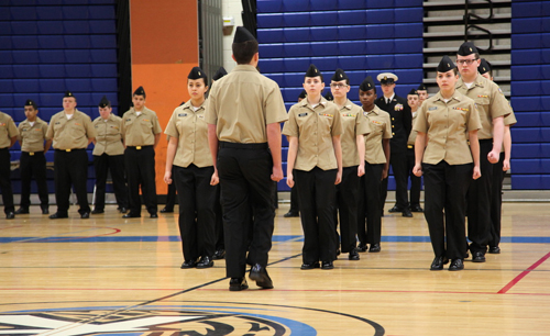 SANDRA KOLBO COURTESY PHOTO | The Riverhead RJROTC's First Year Drill Team at the NJROTC unit's annual inspection and Pass-In-Review Feb. 1.