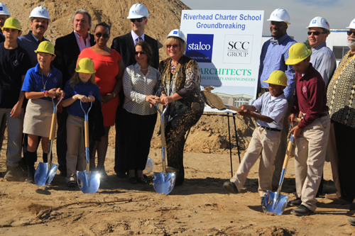 JENNIFER GUSTAVSON PHOTO | Riverhead Charter School students at Thursday's groundbreaking ceremony.