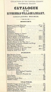Riverhead Free Library catalogue 1875