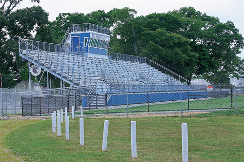New bleachers at the football field were placed over the old track at the high school. (Credit: Barbaraellen Koch)