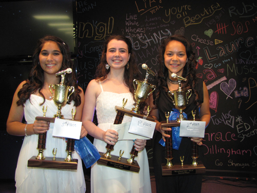 Aria Saltini (center) finished first in Saturday's Riverhead Idol competition. Lia Schellinger (right) won second place and  Megan Schlichting won third place.