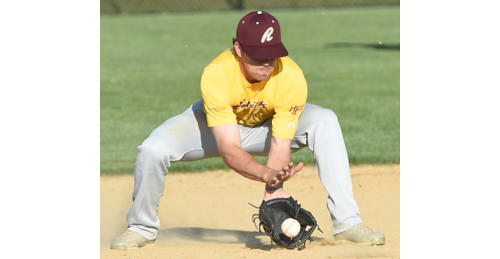 Riverhead shortstop Danny Mendick fielding a ground ball for an out during the Tomcats' 10-9 season-opening loss to Montauk. (Credit: Robert O'Rourk)