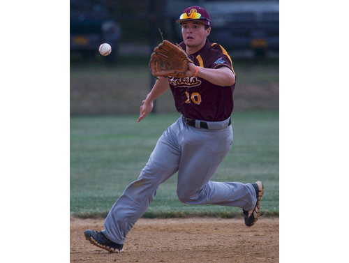 Former Shoreham-Wading River High School standout Tyler Osik made his debut for the Riverhead Tomcats in their season-opening game on Sunday. (Credit: Robert O'Rourk)