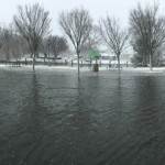 Flooding in downtown Riverhead. (Credit: Lauri Spitz)