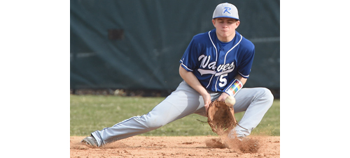 Riverhead's Cody Weiss handles a ground ball at second base during Thursday's game in Deer Park. (Credit: Robert O'Rourk)