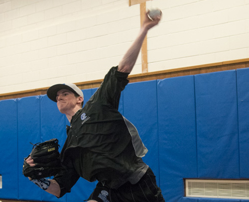 Nick Herzog, a left-hander with a tough curveball, is one of Riverhead's three projected starting pitchers. (Credit: Robert O'Rourk)