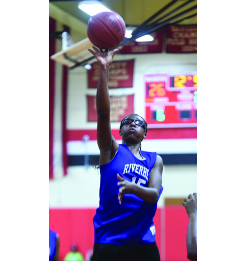 Dezarae Brown, a 6-foot-1 forward, has raised her finishing and rebounding skills, said Riverhead coach Dave Spinella. (Credit: Robert O'Rourk)