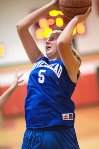 GARRET MEADE PHOTO | Riverhead's Amanda Baron taking aim during Monday's game against Smithtown East.