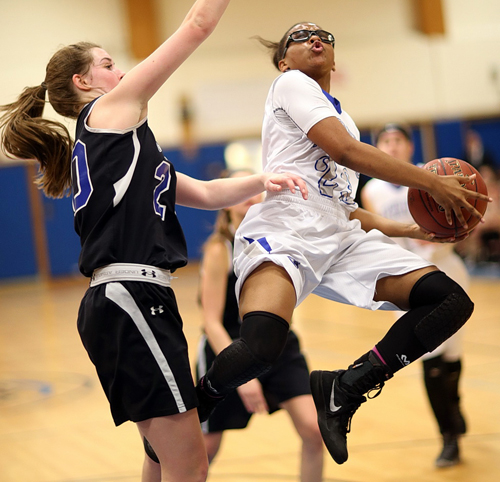 Riverhead basketball player Faith Johnson-DeSilvia 020416