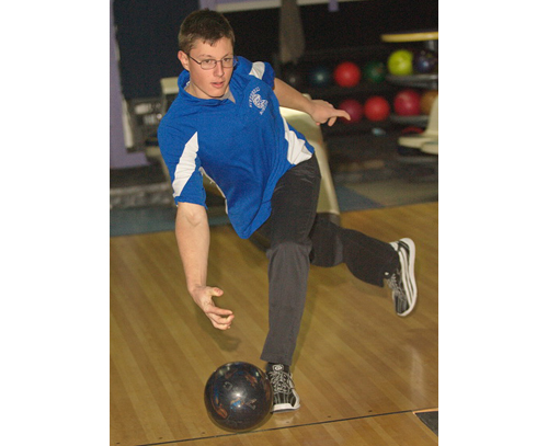 GARRET MEADE PHOTO | Riverhead freshman Jon Visek strung together 11 strikes for a career-high 290 game, capping a career-high 783 series on Monday against Southold.