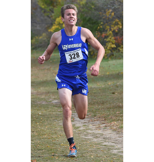 Riverhead senior Luke Coulter ran his fastest time ever at Sunken Meadow Park on Tuesday, giving him second place among Division II runners in the Section XI Division Championships. (Credit: Robert O'Rourk)