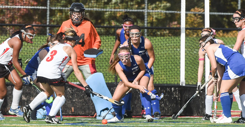 Riverhead's freshman goalie, Rachel Bornstein, making only her second career start, was kept busy by Sachem East's relentless attack. (Credit: Robert O'Rourk)