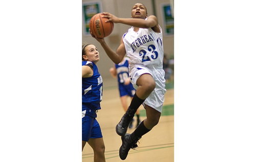GARRET MEADE FILE PHOTO | Shanice Allen leapt into the record book, passing Felicia Hobson as Riverhead's all-time leading scorer.