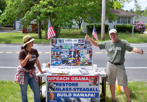 Protestors outside the Riverhead Post Office Saturday afternoon. (Credit: Jerry Bilinski, courtesy)