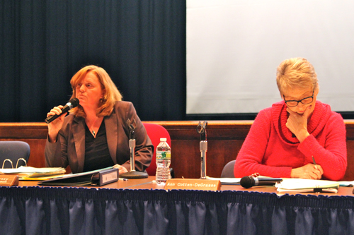 JENNIFER GUSTAVSON FILE PHOTO | Superintendent Nancy Carney, left, with school board president Ann Cotten-DeGrasse at a Board of Education meeting in February.