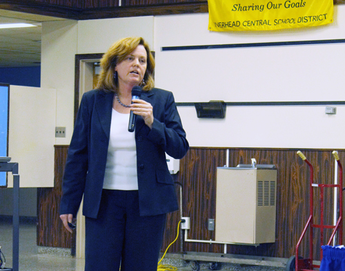 PAUL SQUIRE FILE PHOTO | Riverhead Superintendent Nancy Carney will give a presentation on next year's budget at tonight's Riverhead Board of Education meeting.
