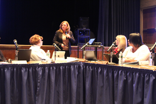 Riverhead School District Superintendent Nancy Carney, standing, gave a budget presentation Tuesday night. (Photo by Jennifer Gustavson)