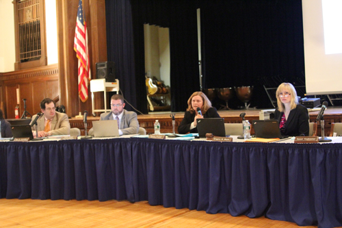 Riverhead Superintendent Nancy Carney speaks at Tuesday's budget presentation. (Credit: Jen Nuzzo)