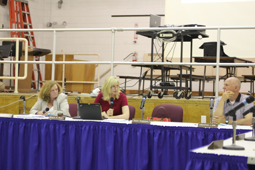 Riverhead School District Superintendent Nancy Carney, left, school board president Sue K and member Chris Dorr at Tuesday's meeting. (Credit: Jen Nuzzo)
