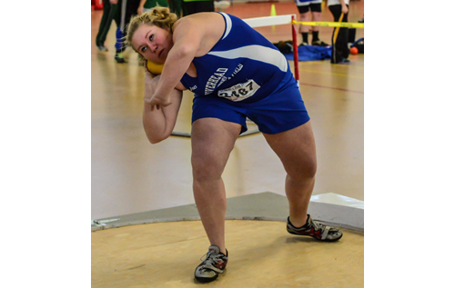 ROBERT O'ROURK PHOTO | Riverhead senior Maddie Blom, whose throw of 35 feet 9 1/2 inches brought her second place in the shot put at the Section XI Championships, qualified for the state meet.