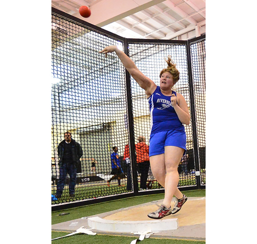 Riverhead shot putter Maddie Blom made a throw of 36 feet 6 inches to finish fourth in the Long Island Elite Track Invitational. (Robert O'Rourk photo)
