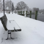 The Peconic riverfront was covered in snow. (Credit: Paul Squire)