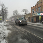 Few cars, and even fewer people, were seen on the streets of downtown Riverhead Monday morning. (Credit: Paul Squire)