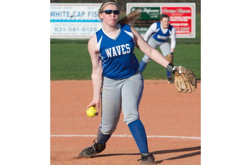 Stephanie Falisi of Riverhead delivering a pitch against East Islip. (Credit: Robert O'Rourk)