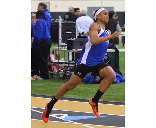 Riverhead junior Jacob Robinson clocked a personal-record time of 37.10 seconds to finish seventh in the 300-meter dash at the Long Island Elite Track Invitational. (Robert O'Rourk photo)