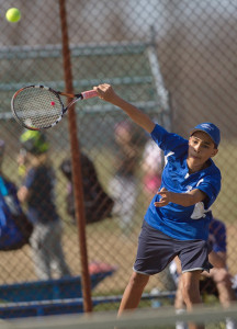 GARRET MEADE PHOTO | Riverhead eighth grader Jens Summerlin has worked his way to the first singles position following an ankle injury suffered by senior Seth Conrad.