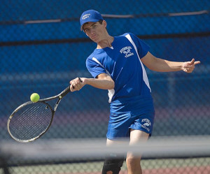 GARRET MEADE FILE PHOTO | Seth Conrad, a fifth-year varsity veteran, is Riverhead's first singles player for the third straight year.