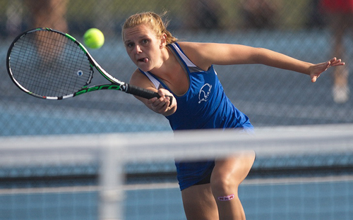 Riverhead captain Taylor Marelli put away 12 winners in her 6-1, 6-0 win over Southold/Greenport's Willow Wilcenski. (Credit: Garret Meade)