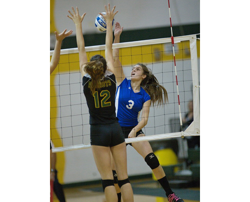 GARRET MEADE PHOTO | Riverhead's Danielle Thomas tries to put a hit past Ward Melvile's Alex Stein.