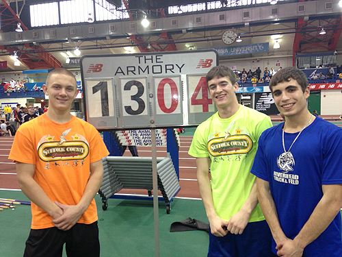 COURTESY PHOTO  |  Riverhead pole vaulters (from left) Dan Normoyle, Jonah Spaeth and Charles Villa all cleared personal bests Saturday at the Armory in New York.