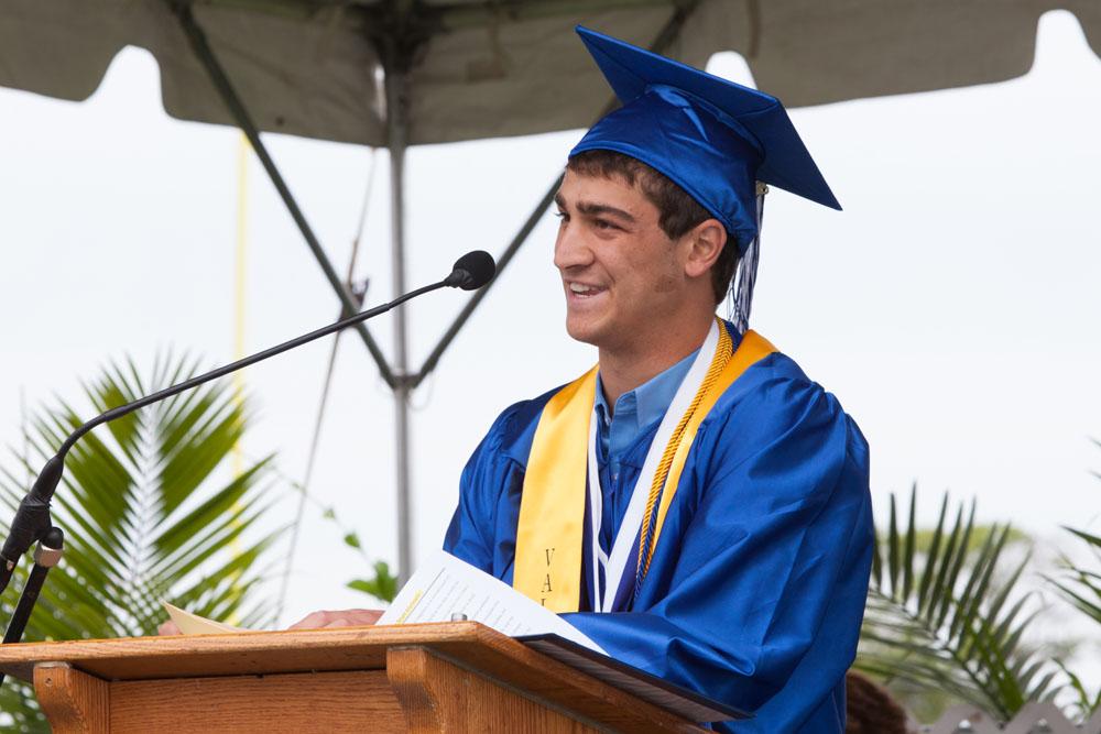 Valedictorian Noah Markewitz speaks.