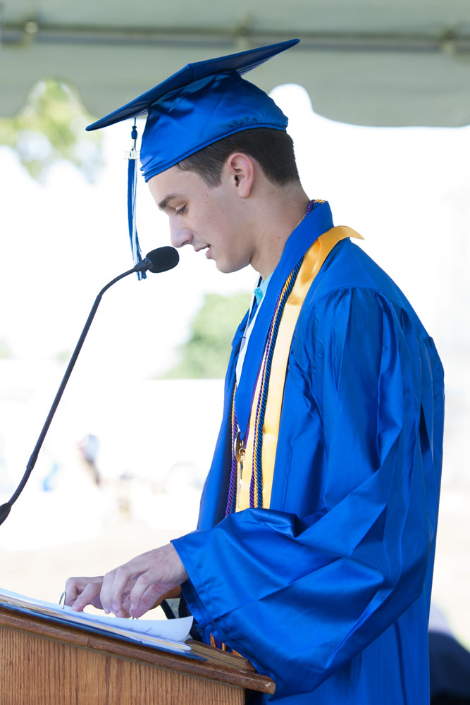 Valedictorian Peter Cook addresses the crowd. (Credit: Katharine Schroeder)