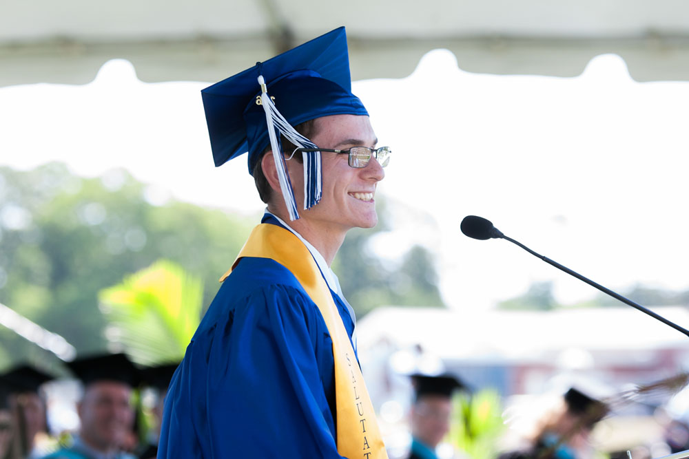 Salutatorian Joseph Messina speaks. (Credit: Katharine Schroeder)