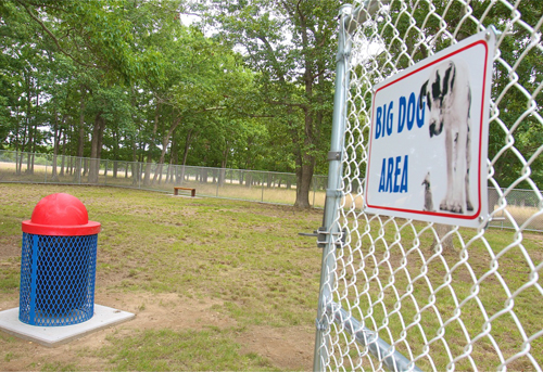 BARBARAELLEN KOCH PHOTO | The big dog play area at the RIverhead dog park in Calverton.