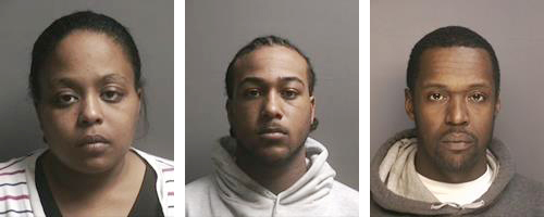 Riverhead police arrested (from left) Roshell R. Ross, George H. Trent and Delshawn J. Moore. (Credit: Riverhead police)