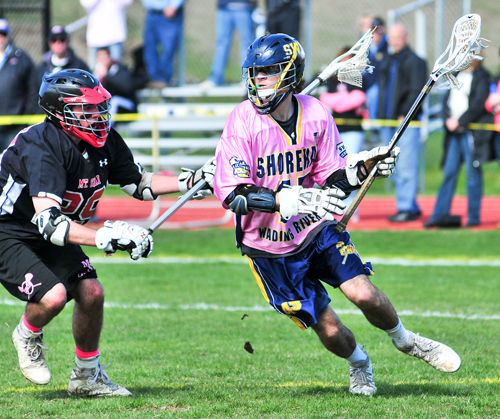Shoreham-Wading River junior Ryan Bray scored two goals with four assists Saturday against Mount Sinai. (Credit: Bill Landon)